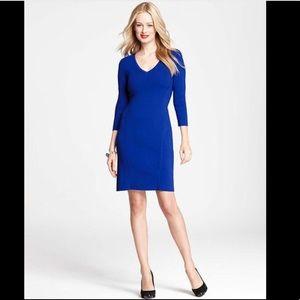 Ann Taylor Sapphire Blue 3/4 sleeve sweater dress